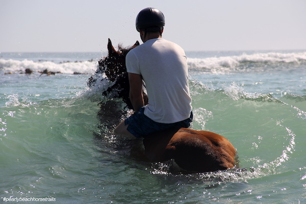 Horse riding through the waves at Pearly Beach